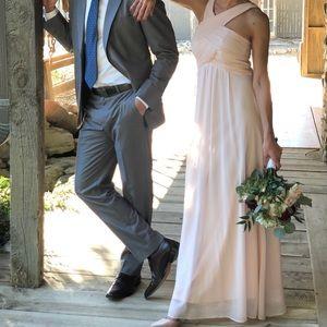Bill Levkoff Crisscross Bodice Chiffon Gown